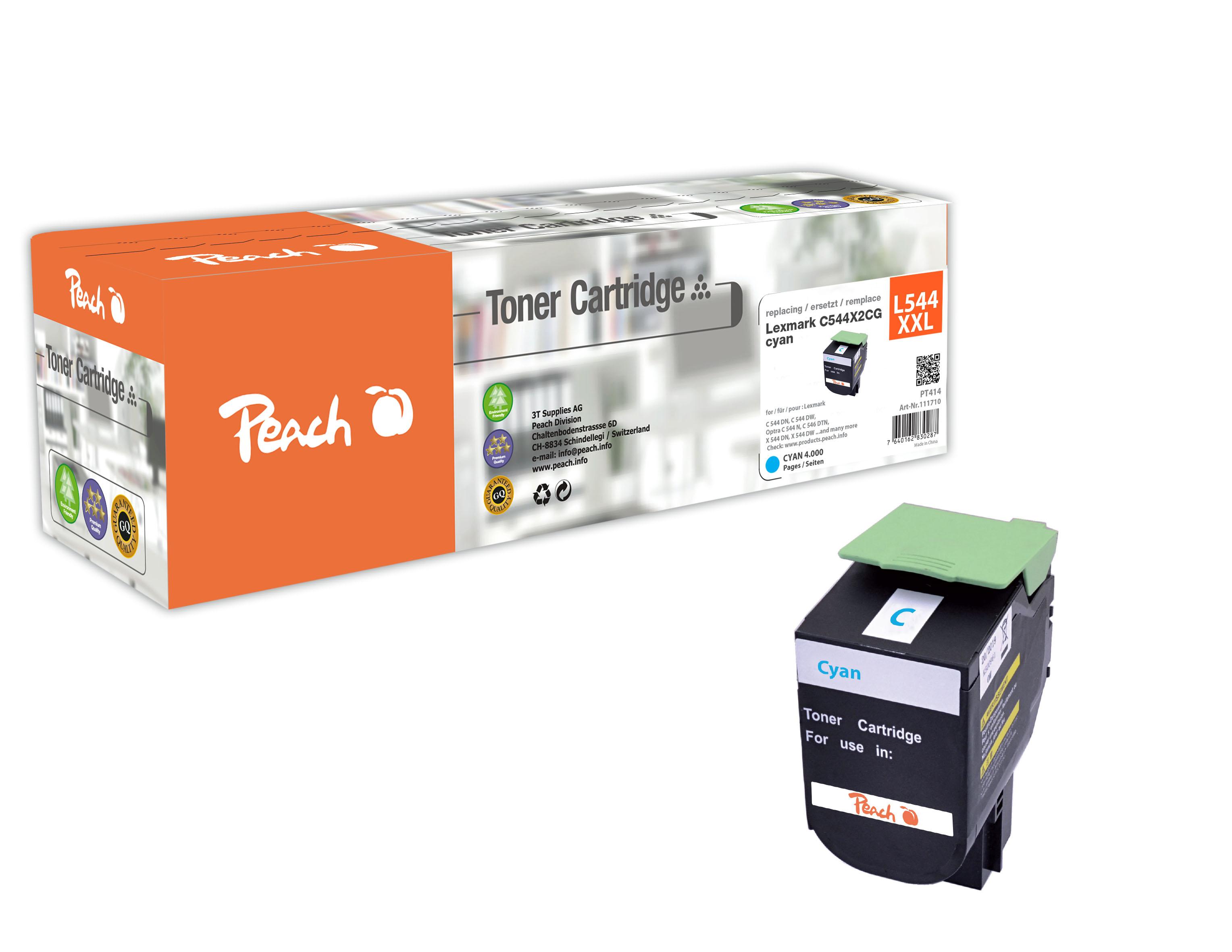 Peach  Tonermodul cyan, kompatibel zu Hersteller-ID: C544X2CG, C544, X544