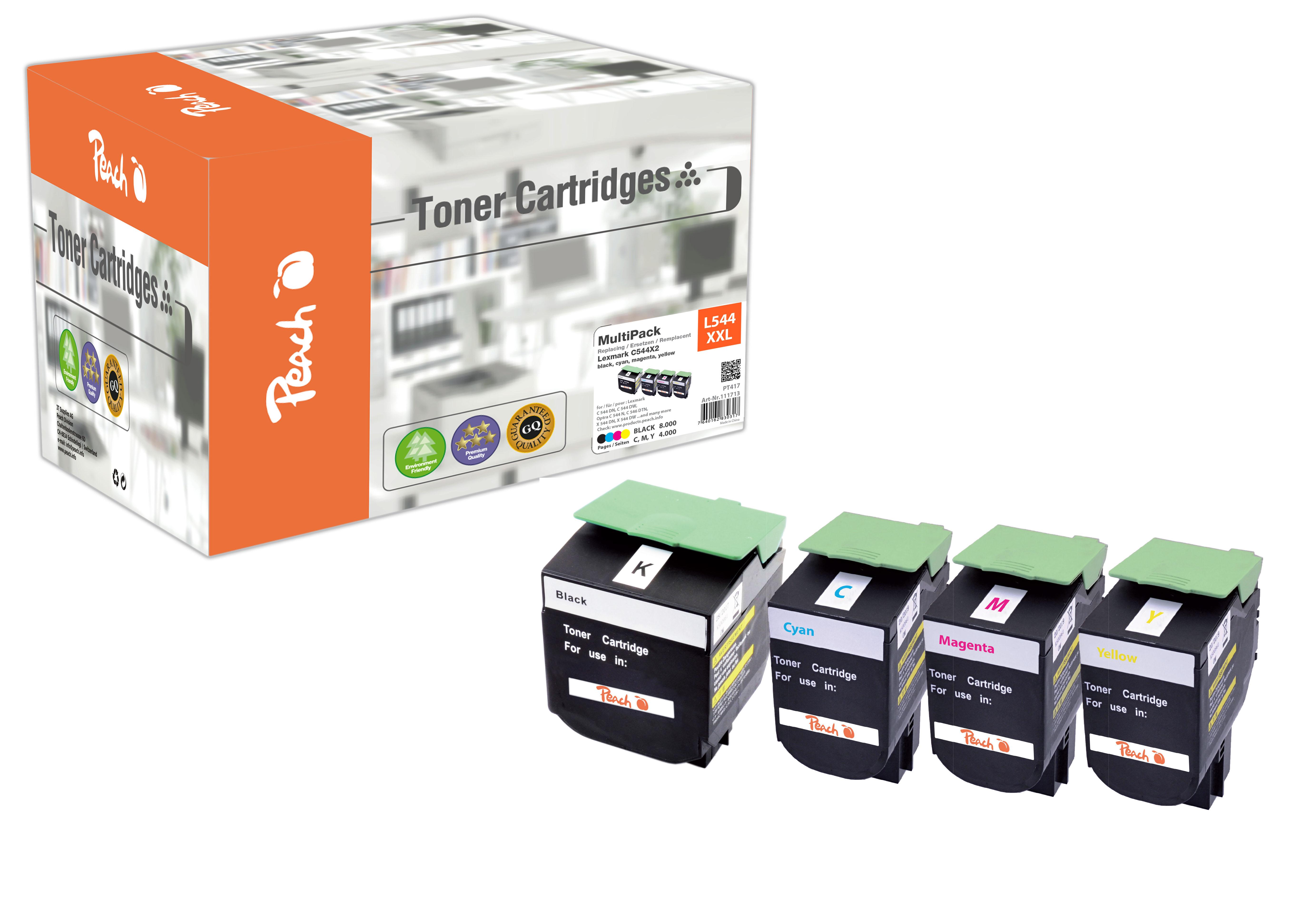 Peach  Spar Pack Tonermodule kompatibel zu Hersteller-ID: C544X2, C544, X544