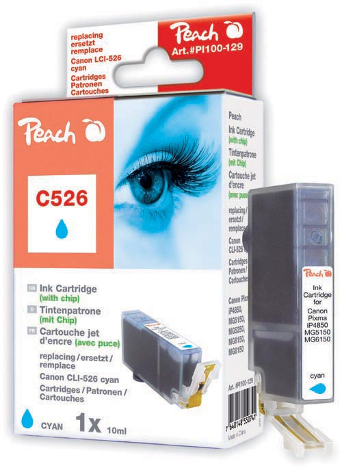 Peach  XL-Tintenpatrone cyan kompatibel zu Hersteller-ID: CLI-526, CLI-526 c