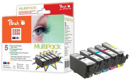 Peach  Spar Pack Tintenpatronen, XL-Ergiebigkeit, kompatibel zu Hersteller-ID: CLI-526, PGI-525