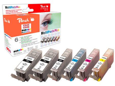 Peach  Spar Pack Plus Tintenpatronen, XL-Ergiebigkeit, kompatibel zu Hersteller-ID: CLI-526, PGI-525