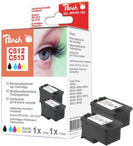 Peach  Spar Pack Druckköpfe kompatibel zu Hersteller-ID: PG-512, CL-513