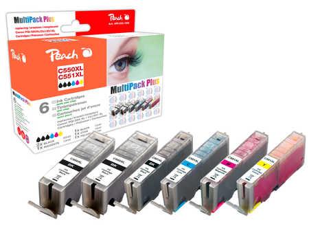 Peach  Spar Pack Plus Tintenpatronen, XL-Ergiebigkeit, kompatibel zu Kompatibel mit PGI-550XL, CLI-551XL