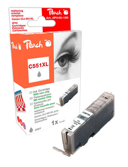 Peach XL-Tintenpatrone grau kompatibel zu - Kompatibel mit CLI-551gyXL  (C551XL gy)
