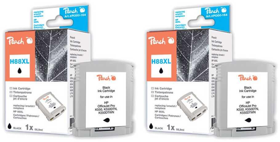 Peach  Doppelpack Tintenpatronen schwarz kompatibel zu Hersteller-ID: No. 88XL, C9396AE