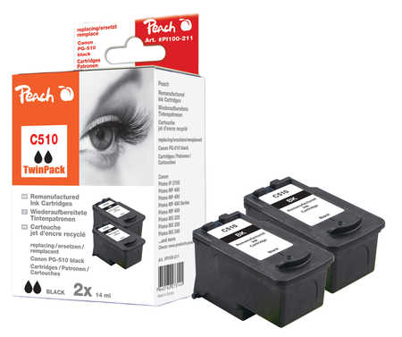 Peach  Doppelpack Druckköpfe schwarz kompatibel zu Hersteller-ID: PG-510