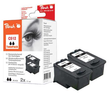 Peach  Doppelpack Druckköpfe schwarz kompatibel zu Hersteller-ID: PG-512