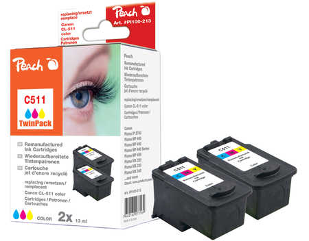 Peach  Doppelpack Druckköpfe color kompatibel zu Hersteller-ID: CL-511