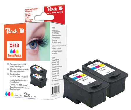 Peach  Doppelpack Druckköpfe color kompatibel zu Hersteller-ID: CL-513
