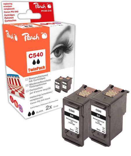 Peach  Doppelpack Druckköpfe schwarz kompatibel zu Hersteller-ID: PG-540